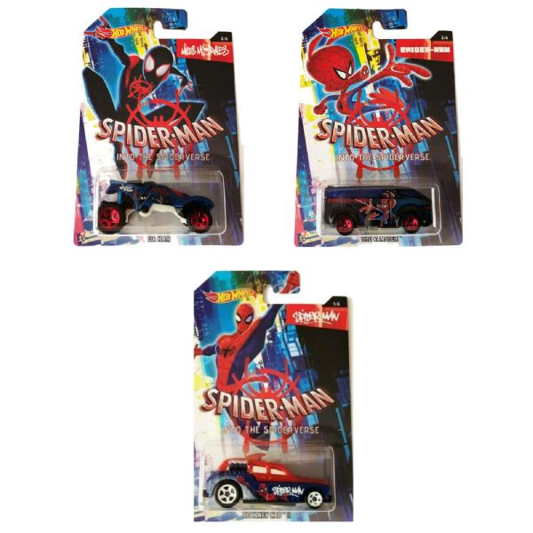 Hot Wheels Marvel Spider-Man Into The Spider-Verse 1:64 Cars Set Of 3